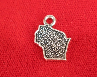 """10pc """"Wisconsin"""" charms in antique silver style (BC1024)"""