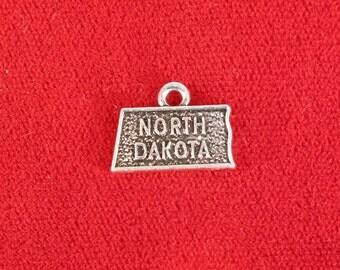 "BULK! 30pc ""North Dakota"" charms in antique silver style (BC1035B)"