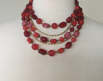 Red multistrand necklace