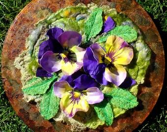 Pansy Posie Flowers. Textile Art. Felting. Nature