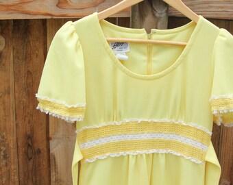 Yellow Hippie Dress / 60s 70s / Small /Medium
