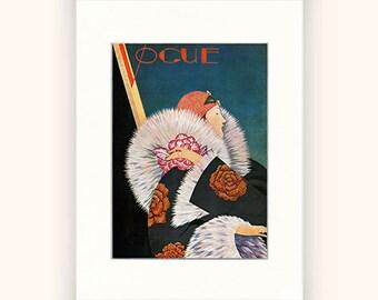Matted Vogue Cover Fashion Illustration Vogue Poster Art Deco Home Decor Print Fine Art