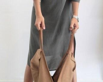 Camel  leather tote bag- Soft leather bag - Charley Bag
