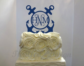 6 inch Double Anchor with Vine Monogram CAKE TOPPER - Celebrate, Party, Cake Decoration