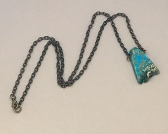 "Vintaj 18"" Fine Etched Cable Chain Necklace with Stunning Turquoise Natural Sea Sediment Jasper"