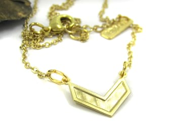 Gold chevron Necklace, Geometric necklace, V jewelry, Modern jewelry, V necklace, Gold necklace, Gift for her, under 40, Birthday gift idea