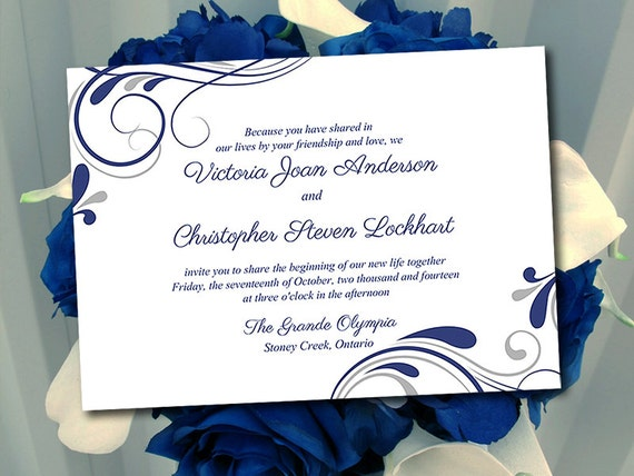 Wedding Invitation Designs Royal Blue: Wedding Invitation Template Winter Wedding Navy Blue Silver