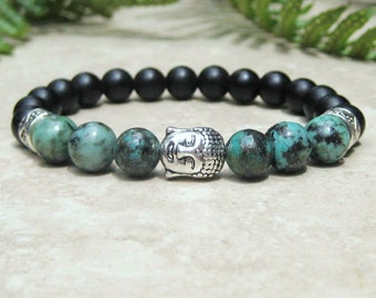 African Turquoise and Matte Black Onyx Healing Bracelet - Buddha Head -  Yoga Meditation Prayer Bracelet - Energy Beads - Tibetan Jewelry