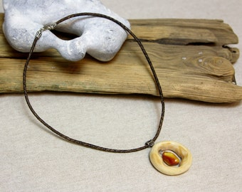 Chain with Baltic amber, amber wood chain