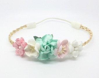 Pink Headband, Mint Headband, Gold Braided Headband, flower crown Headband, Gold Headband,  Cream Headband, Pink flower girl Headband