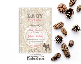 Rustic wood baby shower invitations, Woodgrain baby girl shower invitation, Rustic winter baby shower invites, snowflake baby shower invite