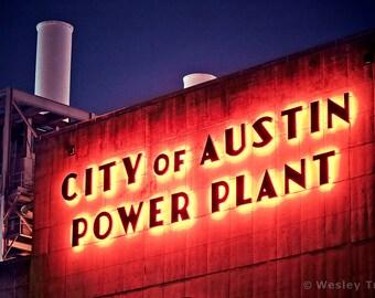 City of Austin Seaholm Power Plant - Historic Art Deco Neon Sign Photograph