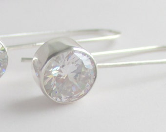 White 8mm cubic zirconia handmade designer sterling silver hook and catch earrings