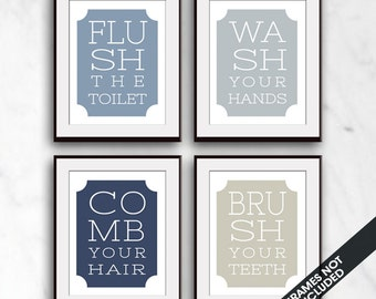 Vintage Bath Instruction Quotes - Set of 4 - Art Print (Featured in Colors 4, 23, 1, 29 ) Bath and Washroom Prints