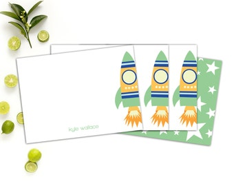 Child's Personalized Note Cards // Personalized Stationery for Children // Rocket Note cards // Custom Notecards