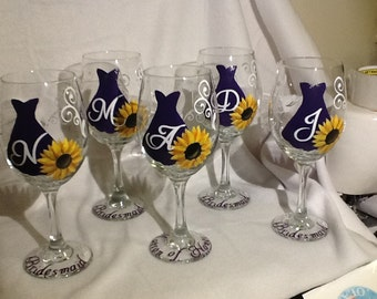 Bridal party glasses....bridesmaid glass....hand painted with personalization .....custom color....keepsake......bridal gift