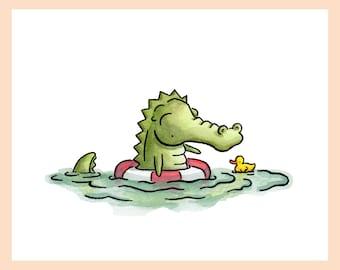 "Nautical Art Crocodile Print. Swimming croc with a rubber duck. 8""X10"" Mounted print"