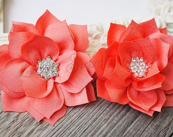 2 pcs Coral Poinsettia Fabric Flowers - Soft Chiffon rhinestones Layered  Dahlia Fabric Flowers Hair accessories