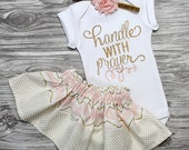 Baby girl coming home outfit personalized baby shower gift monogrammed onepiece skirt and flower headband in blush and gold girl clothes
