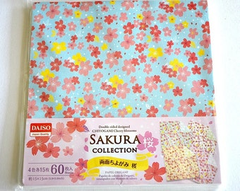 Set of 60 Sheets Sakura Collection Double Sided Floral Japanese Chiyogami Paper, Flower Origami Paper, Japanese Washi Paper, Wrapping Paper