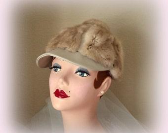60s Mink Newsboy Hat - Blonde Mink & Leather Hat with Topknot - Vintage Hat