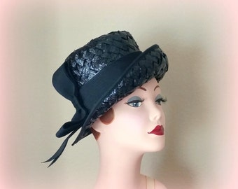 60s NWT Black Cellophane Straw Hat - Black Grosgrain Ribbon Band & Bow - Price Tag Still Attached - SEARS MILLINERY