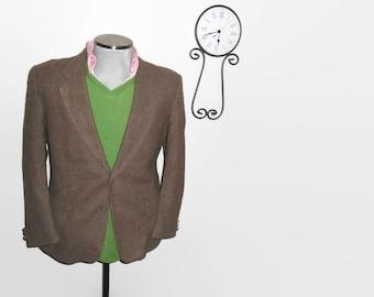 1980s Brown Tweed Wool Sport Coat / 80s Ivy League Blazer / Suit Jacket / Size 42 / Large / Lrg / L
