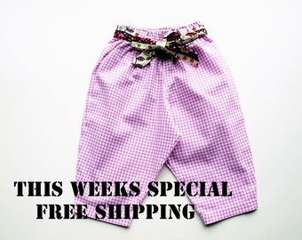 Baby Girls pants, baby pants or trousers, girls pants size 1 with a whimsy owl Trim. SALE PRICE and Free Shipping, Super Adorable.