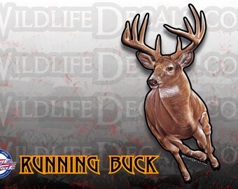Whitetail deer running buck vinyl decal