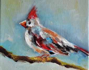 Original Bird Oil Painting, Colorful Impressionist Cardinal Art 6x6 Inch