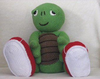 Ted the Jogging Turtle - Crocheted Stuffed Turtle