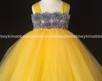 Flower girl tutu dress dark grey yellow