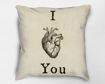 I Love You Throw Pillow, Valentines Day Decor, Valentines Day Gift, Anatomical Heart Pillow, Love Pillow, Quote Pillow, Anatomy Pillow