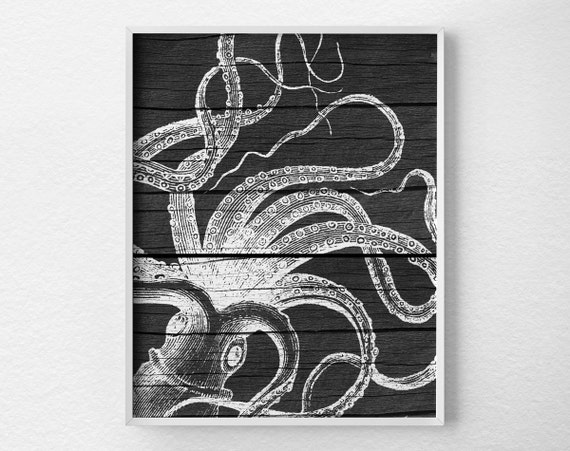 For Nautical Bathroom Art: Nautical Octopus Wall Art Print Nautical Bathroom Octopus