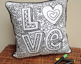 Cushion Love Design Doodle Art Fabric Permanent Pens Adult Colouring Fun Activity Colourful Design Both Sides Hours Of Fun