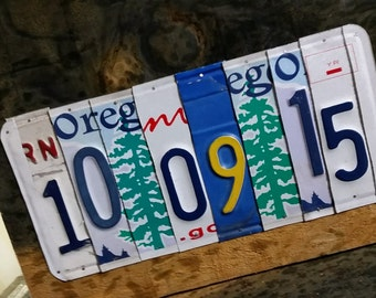 CUSTOM Date Sign, Anniversary Sign, Wedding Date Sign, License Plate Decor, Save The Date Prop, Baby Birthdate Sign, Rustic Reclaimed Art