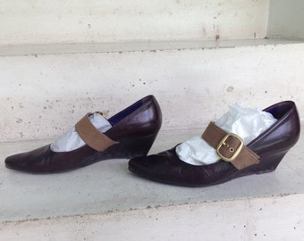 Leather Brown, big shoe buckle, woman, 37