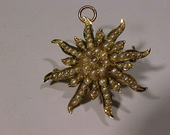 14k gold Seed Pearl Brooch/Pendant  .beautiful Hallmarked 14k-