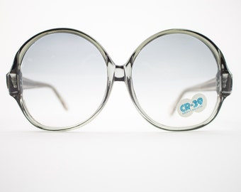 Vintage Sunglasses | Round Oversize Clear Grey Sunglasses | 1970s Deadstock - 1070 Grey