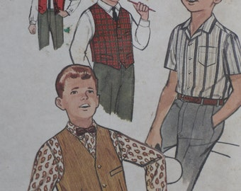 Simplicity 4161 Pattern Boys' Shirt & Vest Size 8 Chest 26 Vintage