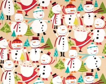 Merry Snowmen in Nutmeg - Winter Wonderland Collection by David Walker for Free Spirit Fabrics - Cotton Fabric