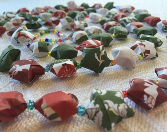Holiday Paper Origami Star Garland with clear colored beads #7
