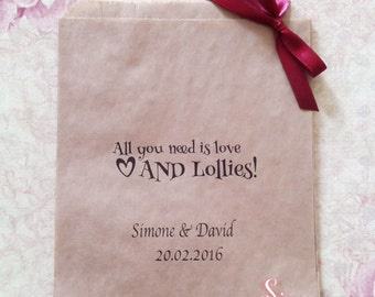 Personalised All you need is love AND Lollies Kraft Brown Paper Candy Buffet Lolly Bags x 50