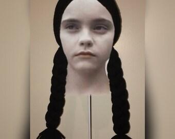 Child Size - Wednesday Addams inspired crochet Hair Hat Wig