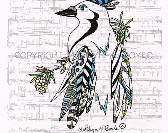 ENHANCED PRINT BLUEJAY; pen and ink, music sheet, song bird, nature, wings, feathers, wall art