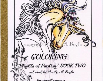 ADULT COLORING BOOK; 10 pages, 32 lb bright whtie paper, fantasy, unicorns, chickadees, poppys, flowers, fairy horses, baby unicorns
