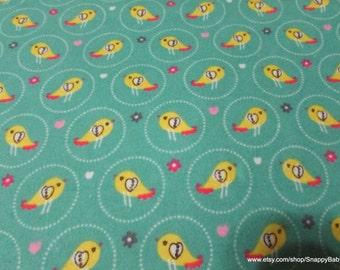 Flannel Fabric - Cute Birds - 1 yard - 100% Cotton Flannel