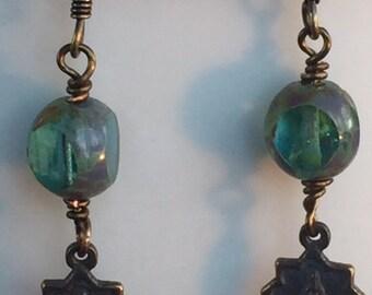 Religious Medal Antique Replica Miraculous Medal Star & Bead  Earrings