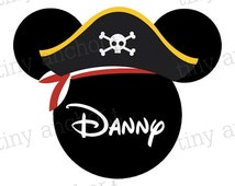 Mickey Pirate Printable Personalized Disney Vacation Iron On Transfer or Cruise Door Magnet