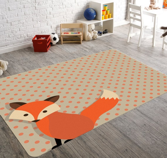 Fox rug woodland nursery woodland rug kids rug nursery for Rugs for kids bedrooms